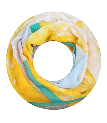 Majea NEUE Saison Damen Loop Schal viele Farben Muster Schlauchschal Halstuch in aktuellen Trendfarben (gelb 28)