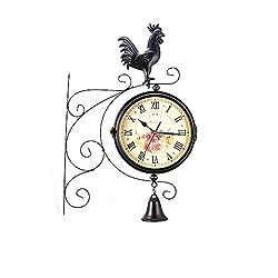 Garden Clocks Outdoor Waterproof Double Sided Wall Clock Retro Stand Clock Paddington Station Wall Clock Vintage Antique-Look Bracket Indoor Hanging Décor Clock, 21.8 21.8cm