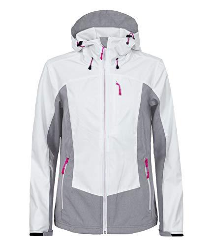 ICEPEAK Damen Softshelljacke Outdoorjacke Regenjacke Sanni 3-54 921 544, Farbe:Weiß, Größe:42, Artikel:-990 Optic White