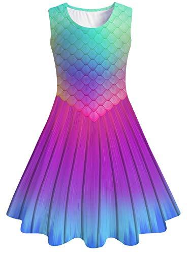 chicolife Teen Mädchen Kleid Rundhals mit ärmellose Design Lange Kleider für 11 Jahren Sommerkleidung