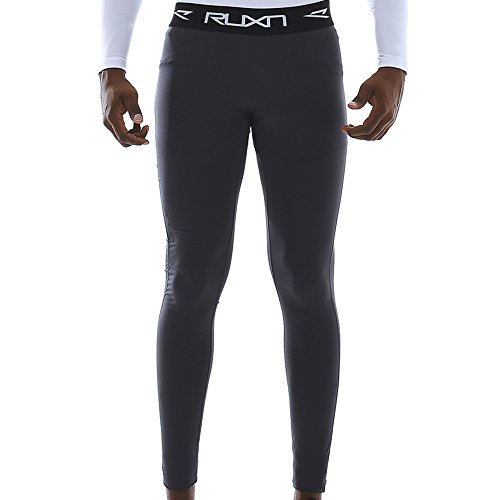 RUXN CL010 Mens Compression Pants - Workout Running Tights for Men - Active Sport Quick Dry Athletic Leggings Base Layer HeatGear Cold Weather Gear (XL, Grey) …