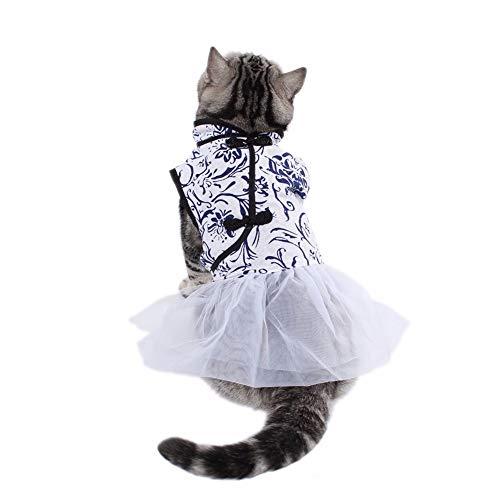 XZHH kattenkleding, jurk, blauw, bedrukt, voor huisdieren, huisdierkleding, wit, L, Blauw