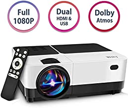 Wsky Portable Projector, Full 1080P Video Supported Mini Movie Projector, Outdoor Movie Projector, Home Theater, Compatible DVD, TV Stick, PS4, HDMI, VGA, TF, Phone, Laptop and USB