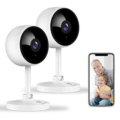 1080P Überwachungskamera, Littlelf 2 Stück WLAN Kamera, Haustier Kamera mit Bewegungsmelder Nachtsicht und 2-Wege Audio, Baby Kamera mit App unterstützt Smartphone Kontrolle, Kompatibel mit Alexa