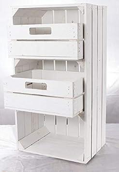 2er SET Nachttisch in weiß mit Schublade Obstkisten Weinkisten Möbel