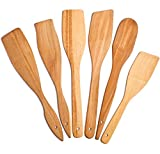 6 Wooden Spoons for Cooking – Natural & Healthy Nonstick Wooden Spatula and...