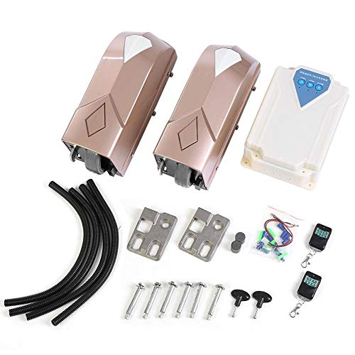 Elektrische poortaandrijving, 180 W draaideuraandrijving set met 2 automatische deuropeners en 1 afstandsbox, 500 kg poortaandrijving met mobiele bediening en wifi-afstandsbediening