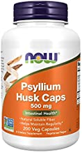 Now Supplements Psyllium Husk Caps 500 mg, Non-GMO Project Verified, Natural Soluble Fiber, Intestinal Health, 200 Veg Capsules