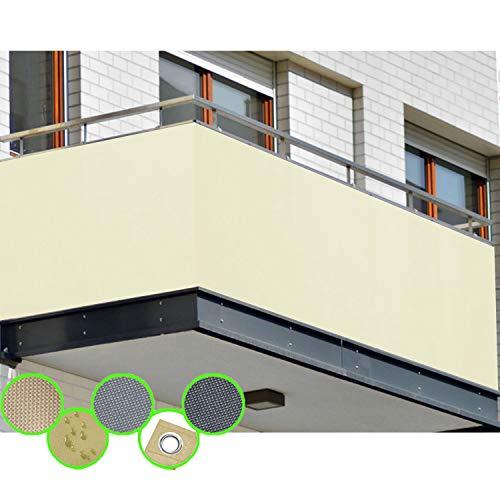 freigarten.de Balkon Sichtschutz PB2 PES blickdichte Balkonumspannung 90x300 cm - BEIGE - mit Ösen und Kordel - in div. Größen & Farben (90x300 cm (H x B), Beige)