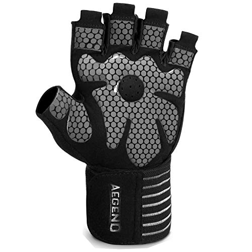 aegend Weight Lifting Gym Gloves Workout Gloves for Women Men with Wrist Support AntiSlip Leather Palm 4 Quick PullTabs for Exercise Training Fitness Powerlifting Hanging Pullups Medium