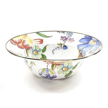 MacKenzie-Childs Flower Market Enamel Serving Bowl - White 12  dia./ 40 oz.