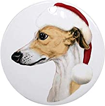 Voicpobo Tan & White Whippet Santa Christmas Ornaments Round Novelty Ceramic Christmas Tree Decoration Ornament Gifts for Friends,for Family