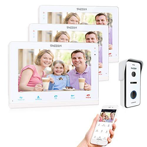 TMEZON IP Video Doorphone Intercom Doorbell System 3 Montior with 1200TVL Wired Doorbell Camera 10' Wireless/Wifi Night Vision, Remote unlock,Talk and view, Record,Snapshot via Smartphone
