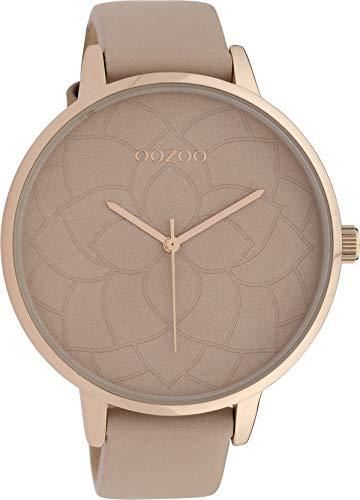 Oozoo Damenuhr mit Blüten Zifferblatt und Lederband 48 MM Rose/Pinkgrau/Pinkgrau C10102