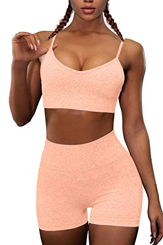 OQQ Yoga Outfit for Women Seamless 2 Piece Workout Gym High Waist Leggings with Sport Bra Set Pink Massachusetts