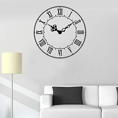 Calcomanía de pared Reloj Hora Números romanos Oficina Aula Sala de estar Decoración del hogar Ventana Pegatinas de vidrio Arte moderno Mural A3 57x57cm