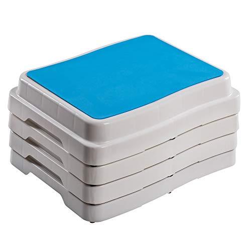 UPP 10 cm Badezimmer-Stufe stapelbar & erweiterbar   Belastbar bis 189 kg   Tritthocker für Senioren o. Kinder   Anti-Rutsch Trittstufe fürs Bad   Hocker für Badewanne & Dusche [4 STK.]