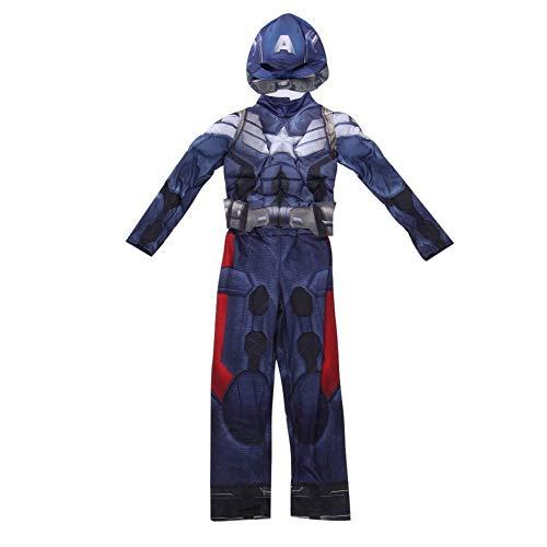 Abendkleid Prom Kostüm Cosplay Superheld Captain America Film-Kostüm-Klage for Kind Jungen Halloween-Overall-Thema-Partei-Strumpfhosen SPIDERSYBB (Color : Blue, Size : 130-140)