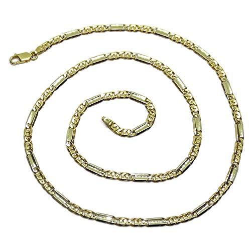 Collana da uomo in oro massiccio 18 kt, modello occhio di perdice, combinata con maglia liscia in oro bianco, 60 cm di lunghezza e 4 mm di larghezza. Peso: 25,5 g di oro da 18 carati.