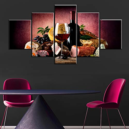 5 Piece Canvas Wall Art Red Wine Cup/Bottle Pictures Delicious Foods Paintings for Living Room Premium Quality Artwork Bedroom Home Decorations Framed Ready to Hang Posters and Prints(60''Wx32''H)