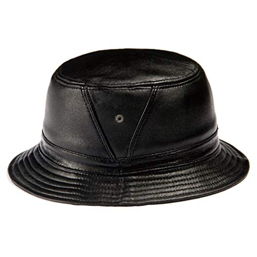 Unisex Real Sheep Leather Bucket Hats Caps Women Fishing Flap Hat Fedoras Hunting Caps Black
