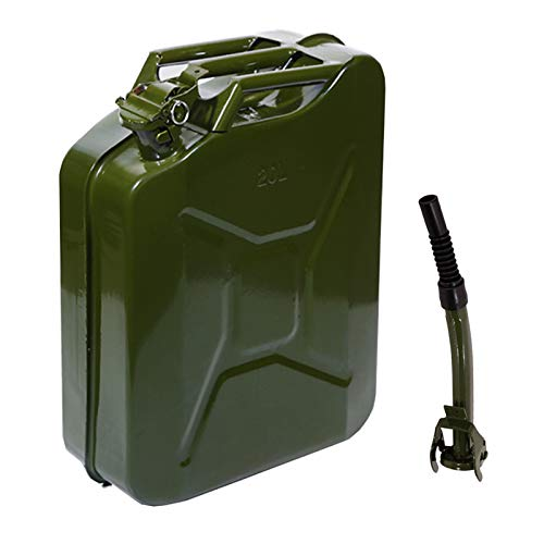 Teekland 5 Gallon 20L Metal Gas Tank Can (US Stardard) Gas Can Power Emergency Backup Tank with Flexible Spout Green (1)