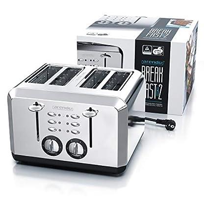 Arendo-Automatik-Toaster-4-Scheiben-in-Edelstahl-bis-zu-vier-Sandwich-und-Toast-Scheiben-Braeunungsgrad-1-6-Aufwaerm-und-Auftaufunktion-Kruemelschublade-1630-Watt-GS-zertifiziert