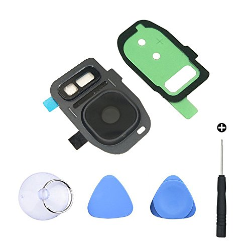 Cemobile Cámara trasera Cubierta de lente de cristal + marco trasero de la cámara con el pegamento piezas de repuesto + Kit de herramientas de reparación para Samsung Galaxy S7 / S7 Edge (Negro)