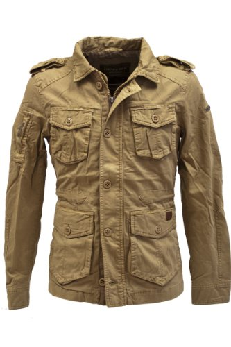 Young & Rich Jacket Veston Blouson Homme Vintage Look Slimfit JK-404, grösse:m;Farbe:Beige