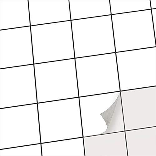 Klebefliesen - Fliesen überkleben statt Fliesenlack oder Fliesenfarbe I Fliesen Folie Aufkleber Sticker für Küchen- und Badezimmer Fliesen und Wandfliesen I 10x10 cm - Muster Weiß - 20 Stück