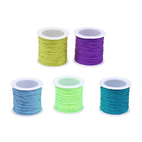 HEALLILY 10 cuerdas de nailon coloridas para cuentas de macramé, hilo de nudo, hilo de nudo, cuerdas para manualidades, collares, pulseras, colores variados