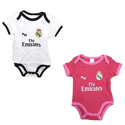 Set 2 Body Real Madrid Niños - Producto Oficial - Temporada 2018/2019 - Primera y Tercera Equipación (18 Meses)