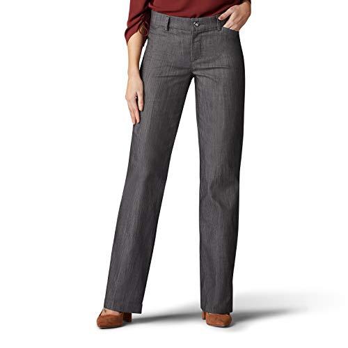 Lee Women's Flex Motion Regular Fit Trouser Pant, Carbon Rinse, 14