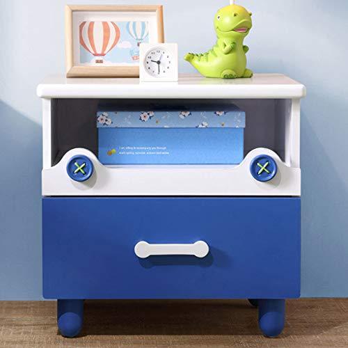 FAPROL Blauer Nachttisch Für Kinderzimmer Nachtkästchen Aus Holz Nachtschrank Aus Holz Mit Schubladen Kleines Bücherregal Abgerundete Ecken