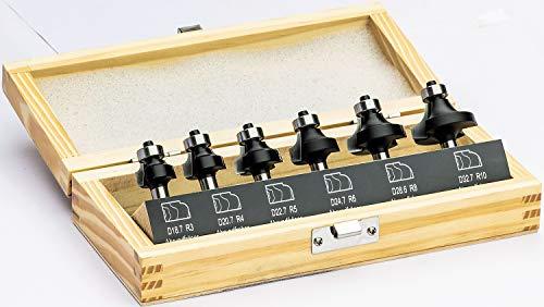 Stehle 6-tlg. HW Oberfräser Abrundfräser Set mit Anlaufllager R3,4,5,6,8,10mm - Schaft Ø 8mm