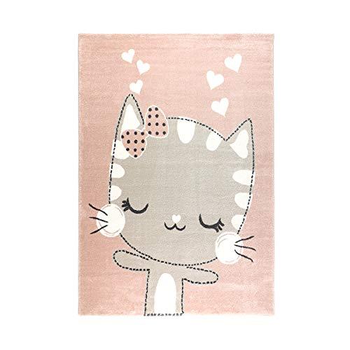 havatex Kinderteppich Meow - Rosa + Grau   süßes Motiv mit Katze und Herzen   Öko-Tex Siegel   Kinderteppich für Mädchen Kinderzimmer, Farbe:Rosa, Größe:120 x 170 cm