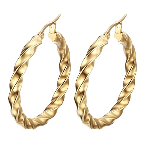 PAURO Orecchino d'ondulato d'oro del cerchio d'oro grande dell'oro dell'acciaio inossidabile dell'acciaio inossidabile delle donne di