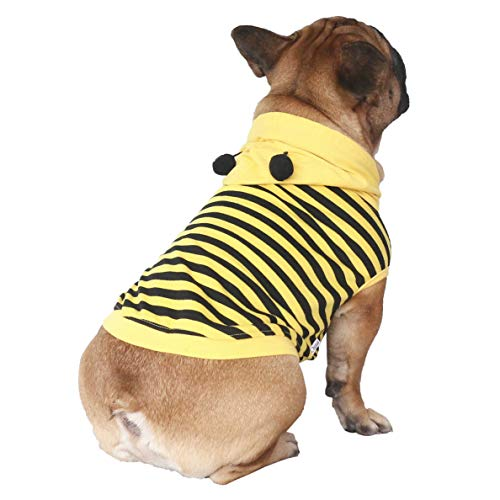 iChoue Bee Dog Costumes Hoodie Sleeveless Clothes Shirt Pullover for French Bulldog Frenchie Shiba Inu -Black and Yellow Bee/M