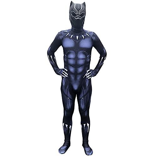 MODRYER Bambino Adulto Nero Panther Costumi di Halloween Carnival Cosplay Fantasia Vestito Tuta Tuta 3D Stampa Bodysuit Congiunta Siamese Stretto Lycra Zentai,A-Kids/S 100~110cm