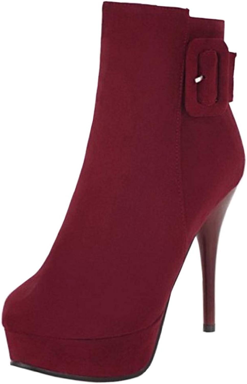 NIGHT CHERRY Women Zipper Platform Ankle Boots Stiletto