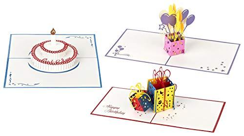 3D Geburtstagskarten 🎁 - Set mit 3 Stück Pop up Karten im günstigen Vorteilspack 🎂 inclusive Umschlag und Schutzhülle - Pop-Up-Karten - handgefertigt - Motive: Torte & Geschenk & Luftballons