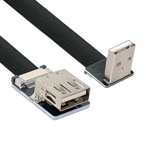 NFHK Down Angled USB 2.0 Type-A Male to Female Extension Data Flat...