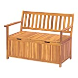 Outsunny 47.25' Wooden Outdoor Storage Bench with PE Lining Deck Box Storage Container and Seat Teak