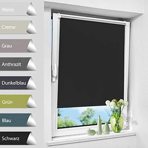 Verdunkelungsrollo Thermorollo Klemmfix ohne Bohren Verdunklungsrollo, Tageslichtrollo Thermo Rollo mit Thermobeschichtung, für Fenster und Tür, Seitenzugrollo Schwarz 50 x 150 cm