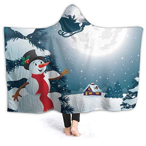baowen Manta con Capucha usable Muñeco de Nieve navideño Abrigo con Capucha Abrigo con Capa Capa Bata Reversible para jóvenes Oficina en el hogar Mantón de Franela con Mangas