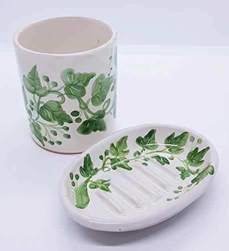 Bicchiere Portaspazzolini + Portasapone Linea Edere Ceramica Realizzato e dipinto a mano Le Ceramiche del Castello Made in Italy