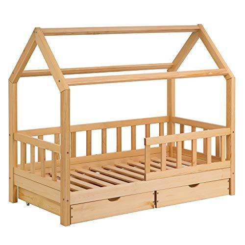 Schönes Kinderbett 80x160 cm mit Rausfallschutz - Hausbett mit Schubladen für Kinder aus Holz imskandinavischen Haus Stil | 80 x 160 Kiefer Bett inkl. Lattenrost | Massivholz Natur Hell