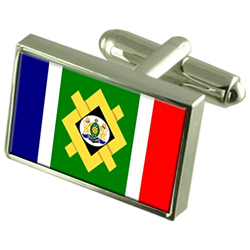 Select Gifts Stadt Johannesburg Südafrika Flagge Sterling Silber Manschettenknöpfe graviert Box