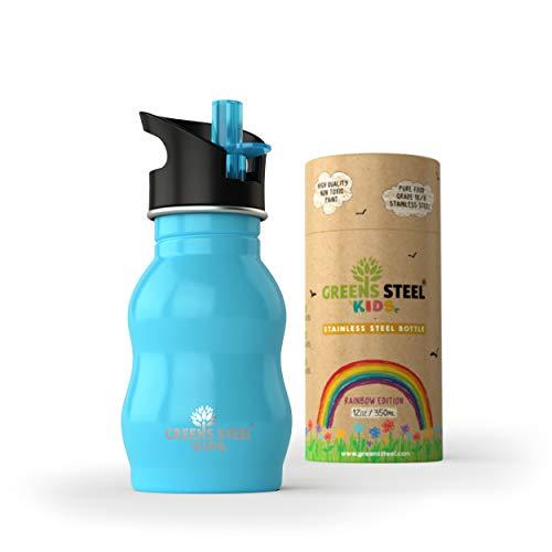 Greens Steel Botella de Agua de niño - 350ml Botella a Prueba de Fugas Tapa con Pitillo - Bebe niños cantimplora de Acero para niños (Azul)