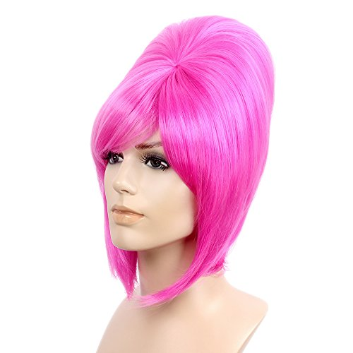 STfantasy Beehive Wigs for Women Halloween Cosplay Auburn Costume Hair withCap,17 Inches Magenta